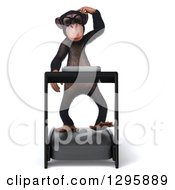 Clipart Of A 3d Bespectacled Chimpanzee Walking On A Treadmill Royalty Free Illustration