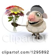 Clipart Of A 3d French Sheep Holding Up A Bouquet Of Flowers Royalty Free Illustration