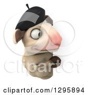 Clipart Of A 3d French Sheep Looking Around A Sign Royalty Free Illustration