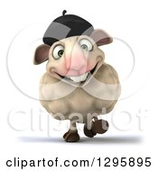Clipart Of A 3d French Sheep Walking And Smiling Royalty Free Illustration