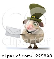Clipart Of A 3d Irish Sheep Holding An Envelope Royalty Free Illustration