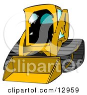 Dark Yellow Bobcat Skid Steer Loader With Blue Window Tint Clipart Graphic Illustration