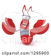 Clipart Of A 3d Happy Sailor Lobster Welcoming Royalty Free Illustration by Julos
