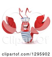 Clipart Of A 3d Happy Sailor Lobster Welcoming 2 Royalty Free Illustration by Julos