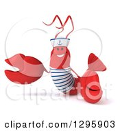 Clipart Of A 3d Happy Sailor Lobster Presenting To The Left Royalty Free Illustration by Julos
