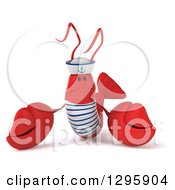 Clipart Of A 3d Sad Pouting Sailor Lobster Welcoming Royalty Free Illustration by Julos