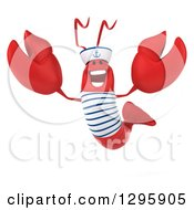Clipart Of A 3d Happy Sailor Lobster Jumping Royalty Free Illustration by Julos