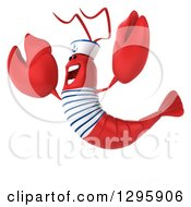 Clipart Of A 3d Happy Sailor Lobster Facing Slightly Left And Jumping Royalty Free Illustration by Julos