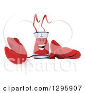 Clipart Of A 3d Happy Sailor Lobster Over A Sign Royalty Free Illustration by Julos