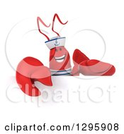 Clipart Of A 3d Happy Sailor Lobster Over A Sign 2 Royalty Free Illustration by Julos