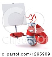 Clipart Of A 3d Happy Sailor Lobster Holding A Blank Sign Royalty Free Illustration by Julos
