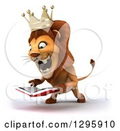 Clipart Of A 3d Male Lion King Facing Left Roaring And Reading A Book Royalty Free Illustration