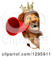Clipart Of A 3d Lion King Facing Announcing With A Megaphone Around A Sign Royalty Free Illustration