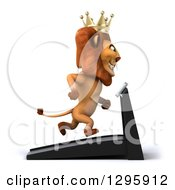 Clipart Of A 3d Male Lion King Facing Right And Running On A Treadmill Royalty Free Illustration