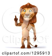 Clipart Of A 3d Male Lion Standing And Holding Up A Finger Royalty Free Illustration