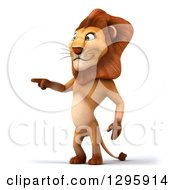Clipart Of A 3d Male Lion Pointing To The Left Royalty Free Illustration