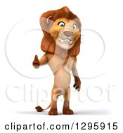 Clipart Of A 3d Male Lion Standing And Giving A Thumb Up Royalty Free Illustration