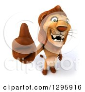 Clipart Of A 3d Male Lion Standing And Holding Up A Thumb Royalty Free Illustration