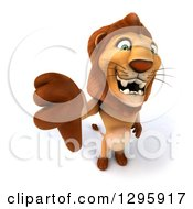 Clipart Of A 3d Male Lion Standing And Holding Up A Thumb Down Royalty Free Illustration