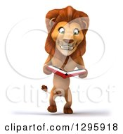 Clipart Of A 3d Male Lion Walking Upright And Reading A Book Royalty Free Illustration