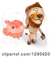 Clipart Of A 3d Male Lion Holding Up A Piggy Bank Royalty Free Illustration