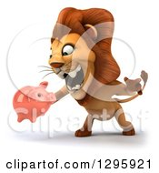 Clipart Of A 3d Male Lion Facing Slightly Left Roaring And Holding A Piggy Bank Royalty Free Illustration