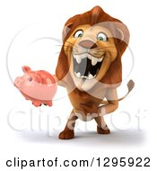 Clipart Of A 3d Male Lion Roaring And Holding A Piggy Bank Royalty Free Illustration