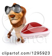 Clipart Of A 3d Male Lion Wearing Sunglasses And Holding Up A Beef Steak Royalty Free Illustration