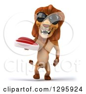 Clipart Of A 3d Male Lion Wearing Sunglasses And Walking With A Beef Steak Royalty Free Illustration
