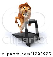 Clipart Of A 3d Male Lion Facing Slightly Right And Running On A Treadmill Royalty Free Illustration