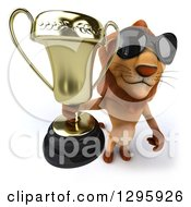 Clipart Of A 3d Male Lion Wearing Sunglasses And Holding Up A Trophy Royalty Free Illustration