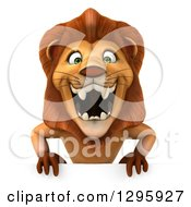 Clipart Of A 3d Male Lion Roaring Over A Sign Royalty Free Illustration