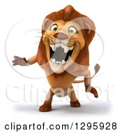 Clipart Of A 3d Male Lion Roaring Royalty Free Illustration