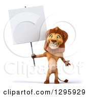 Clipart Of A 3d Male Lion Standing And Holding A Blank Sign Royalty Free Illustration