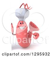 Clipart Of A 3d Happy Pink Chef Shrimp Smiling By A Sign Royalty Free Illustration by Julos
