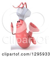 Clipart Of A 3d Happy Pink Chef Shrimp Facing Left By A Sign Royalty Free Illustration by Julos
