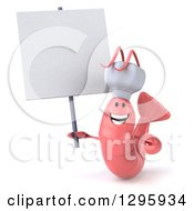 Clipart Of A 3d Happy Pink Chef Shrimp Holding A Blank Sign Royalty Free Illustration by Julos