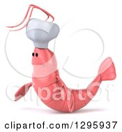 Clipart Of A 3d Sad Pink Chef Shrimp Facing Left Royalty Free Illustration by Julos