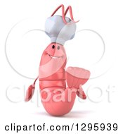 Clipart Of A 3d Happy Pink Chef Shrimp Royalty Free Illustration by Julos
