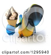 Clipart Of A 3d Blue And Yellow Macaw Parrot Holding Out A Wafle Ice Cream Cone Royalty Free Illustration by Julos