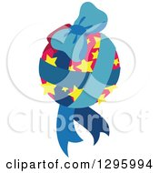 Pink Starry Christmas Bauble With Blue Ribbons And A Bow