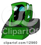 Green Bobcat Skid Steer Loader With Blue Window Tint Clipart Graphic Illustration