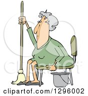 Tired Or Lazy Sitting Senior White Woman With A Mop And Bucket