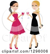 Clipart Of Beautiful Brunette And Blond Caucasian Women Toasting With Red Wine Royalty Free Vector Illustration