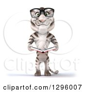 Clipart Of A 3d Bespectacled White Tiger Holding An Open Book Royalty Free Illustration