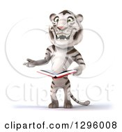 Clipart Of A 3d White Tiger Gesturing And Holding An Open Book Royalty Free Illustration