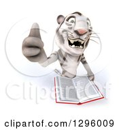Clipart Of A 3d White Tiger Holding Up A Thumb And An Open Book Royalty Free Illustration