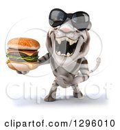 Clipart Of A 3d White Tiger Wearing Sunglasses Roaring And Holding A Double Cheeseburger Royalty Free Illustration