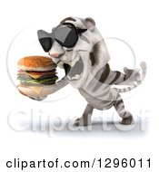 Clipart Of A 3d White Tiger Wearing Sunglasses Facing Left Roaring And Holding A Double Cheeseburger Royalty Free Illustration