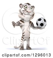Clipart Of A 3d White Tiger Holding A Soccer Ball And A Thumb Down Royalty Free Illustration
